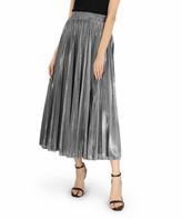 Dm Beauty DM Beauty Women's Casual Skirts Silver - Silver Elastic-Waist Midi Skirt - Women