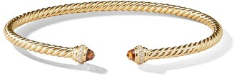 David Yurman 18kt yellow gold Cable Spira citrine and diamond 3mm cuff