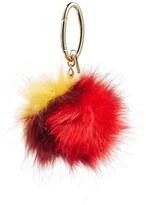 Halogen Patchwork Faux Fur Pompom Bag Charm
