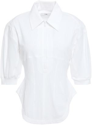 Tibi Twill-trimmed Cotton-pique Polo Shirt