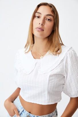 Cotton On Lulu Frill Collar Shirred Blouse
