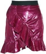 Self-Portrait Ruffled Metallic-velvet Mini Skirt