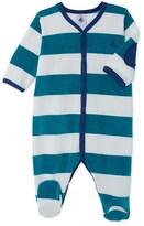 Petit Bateau Baby boys striped velour sleepsuit