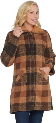 Denim & Co. Plaid Print Sherpa Lined Fleece Zip & Snap Front Coat