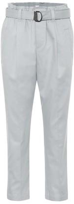 Brunello Cucinelli High-rise slim cotton-twill pants