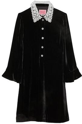 Kate Spade Velvet Jewel Button Shirtdress