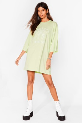 Nasty Gal Womens Protect Mother Earth Embroidered Tee Dress - Green - S, Green
