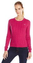 Lacoste Women's Long Sleeve Cable Knit Cotton Sweater