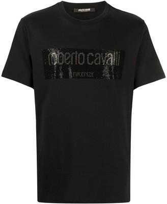 Roberto Cavalli stud embellished logo T-shirt