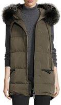 Derek Lam 10 Crosby Fur-Trimmed Hooded Puffer Vest, Loden