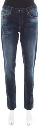 Just Cavalli Indigo Dark Wash Faded Effect Denim Straight Fit Jeans M