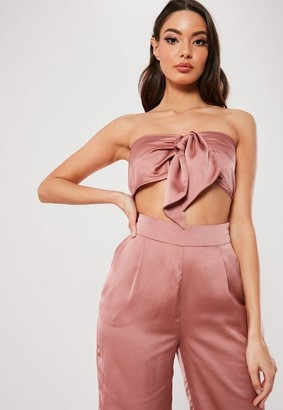 Missguided Petite Blush Satin Tie Front Co Ord Top