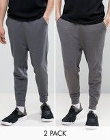 Asos Drop Crotch Joggers 2 Pack Charcoal Marl/ Washed Black Save