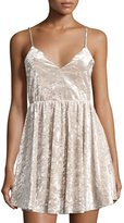 Romeo & Juliet Couture Crushed Velvet Spaghetti-Strap Dress, Gray