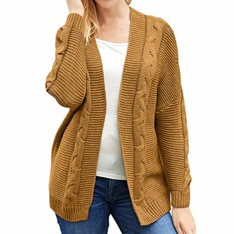 Yczx Women's Cardigans Loose Knitted Chunky Long Sleeves Sweaters Open Front Solid Color Casual Knitwear Comfy Soft Elegant Tops Warm Autumn Winter Ribbing Cardigans XXL
