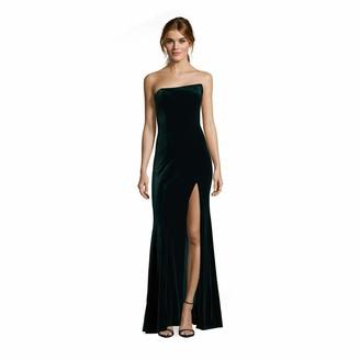Betsy & Adam Women's Long Strapless Velvet Dress with Front Slit