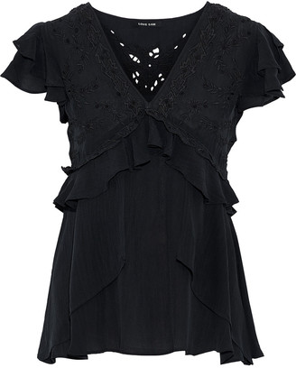 Love Sam Ruffled Broderie Anglaise Crepe De Chine Blouse