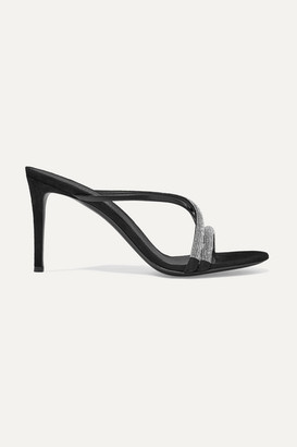 Giuseppe Zanotti Croisette Crystal-embellished Leather And Suede Sandals - Black