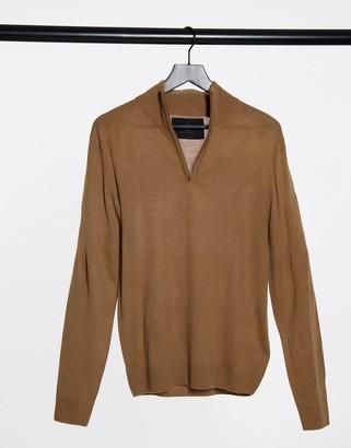 Soul Star half zip funnel neck knitted sweater in tan