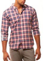 191 Unlimited Men's Slim Fit Red Plaid Shirt