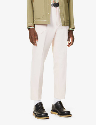 Fendi Drawstring tapered wool-blend trousers