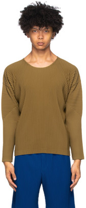 Homme Plissé Issey Miyake Brown Pleated Long Sleeve Shirt
