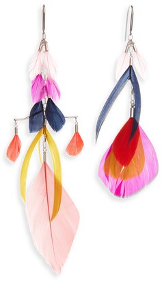 Isabel Marant Mismatched Feather Statement Earrings