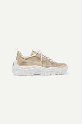 Valentino Garavani Gumboy Metallic Leather Sneakers - Gold