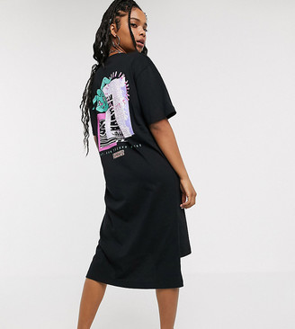 Crooked Tongues midi t-shirt dress with front and back print-Black