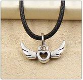 Nobrand No brand Fashion Tibetan Silver Pendant fly heart Necklace Choker Charm Black Leather Cord Handmade Jewlery