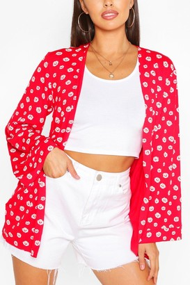 boohoo Daisy Print Kimono