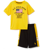 U.S. Polo Assn. Yellow 'Athletic Department' Tee & Shorts - Infant Toddler & Boys