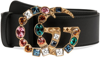 Gucci GG Marmont Crystal Buckle Leather Belt