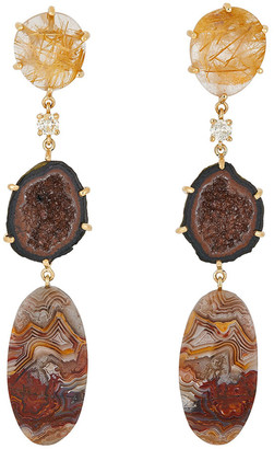 Jan Leslie 18k Bespoke 3-Tier Tribal Luxury Earrings w/ Rutilated Quartz, Druzy Geode, Lace Agate & Diamonds
