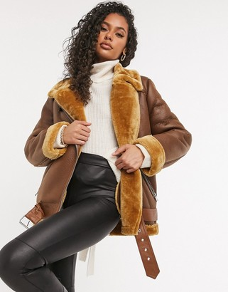 NA-KD faux leather aviator coat in brown