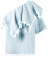 Marques Almeida Marques'almeida - one-shoulder frayed denim top - women - Cotton - S