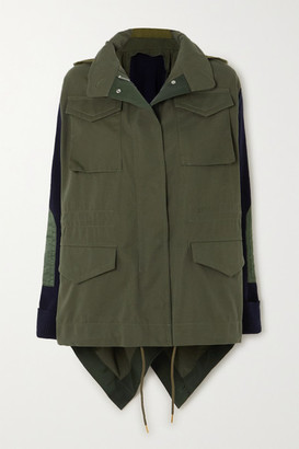 Sacai Paneled Cotton-gabardine And Ribbed-knit Jacket - Dark green