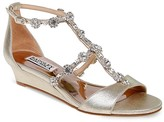 Badgley Mischka Terry II Embellished T Strap Demi Wedge Sandals
