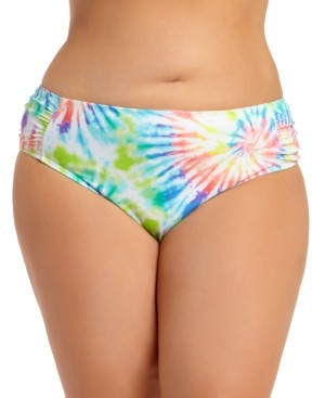 California Waves Trendy Plus Size Tie-Dye Ruched-Side Bikini Bottoms, Create For Macy's Women's Swimsuit
