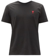 Thumbnail for your product : Ami Logo-embroidered Cotton-jersey T-shirt - Black