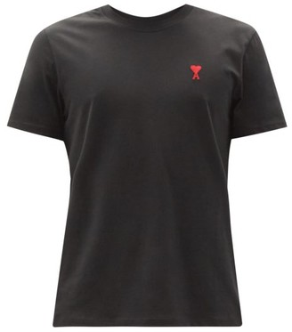 Ami Logo-embroidered Cotton-jersey T-shirt - Black