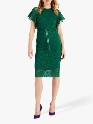 Phase Eight Ninette Frill Sleeve Dress, Emerald
