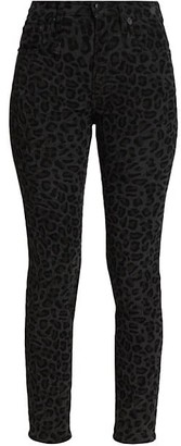 R 13 High-Rise Leopard Print Skinny Jeans