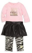 Juicy Couture Baby'sTwo-Piece Onesie & Skirt Overlay Leggings