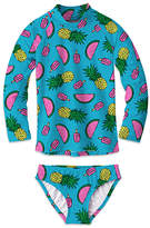 Sunshine Swing Girls' Bikini Bottoms - Turquoise & Pink Watermelon Pineapple Long-Sleeve Rashguard Set - Toddler & Girls