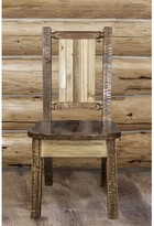 Abella Pine Wood Solid Wood Dining Chair Loon Peak Color: Brown Lacquer