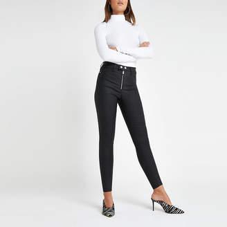 River Island Black Hailey high rise coated jeans