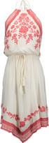 Chelsea Flower Lace-trimmed embroidered voile halterneck dress