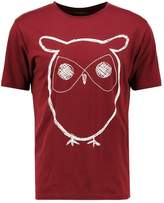Knowledge Cotton Apparel Owl Print Tshirt Tawny Red