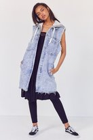 BDG Mumford Acid Wash Longline Hooded Vest